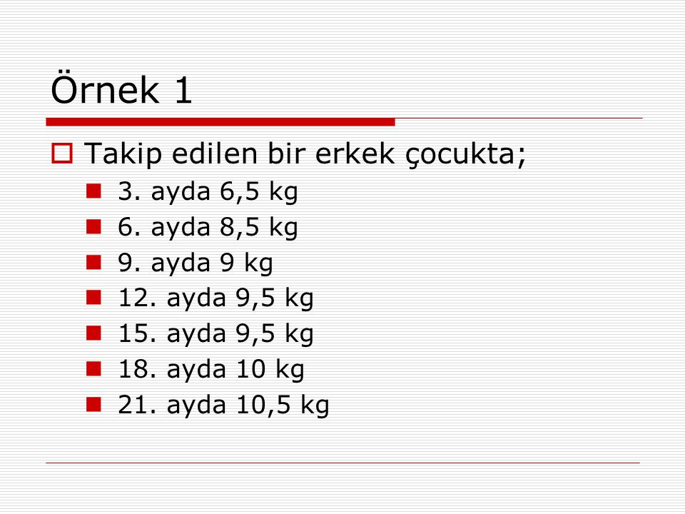 Örnek 1  Takip edilen bir erkek çocukta; 3. ayda 6,5 kg 6. ayda 8,5 kg 9. ayda 9 kg 12. ayda 9,5 kg 15. ayda 9,5 kg 18. ayda 10 kg 21. ayda 10,5 kg