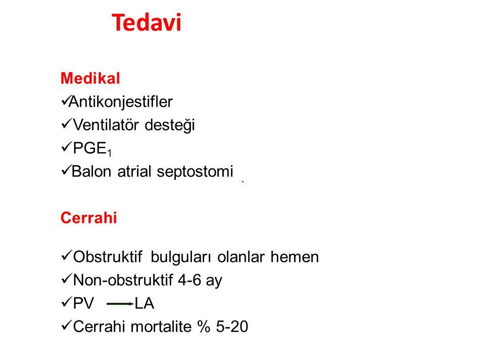 Tedavi Medikal Antikonjestifler Ventilatör desteği PGE 1 Balon atrial septostomi Cerrahi Obstruktif bulguları olanlar hemen Non-obstruktif 4-6 ay PV L