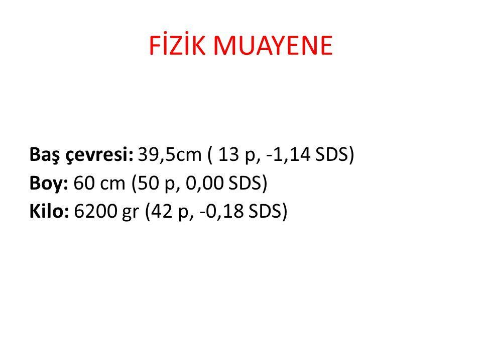 FİZİK MUAYENE Baş çevresi: 39,5cm ( 13 p, -1,14 SDS) Boy: 60 cm (50 p, 0,00 SDS) Kilo: 6200 gr (42 p, -0,18 SDS)