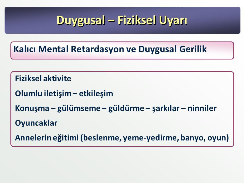 Duygusal – Fiziksel Uyarı Kalıcı Mental Retardasyon ve Duygusal Gerilik Fiziksel aktivite Olumlu iletişim – etkileşim Konuşma – gülümseme – güldürme –