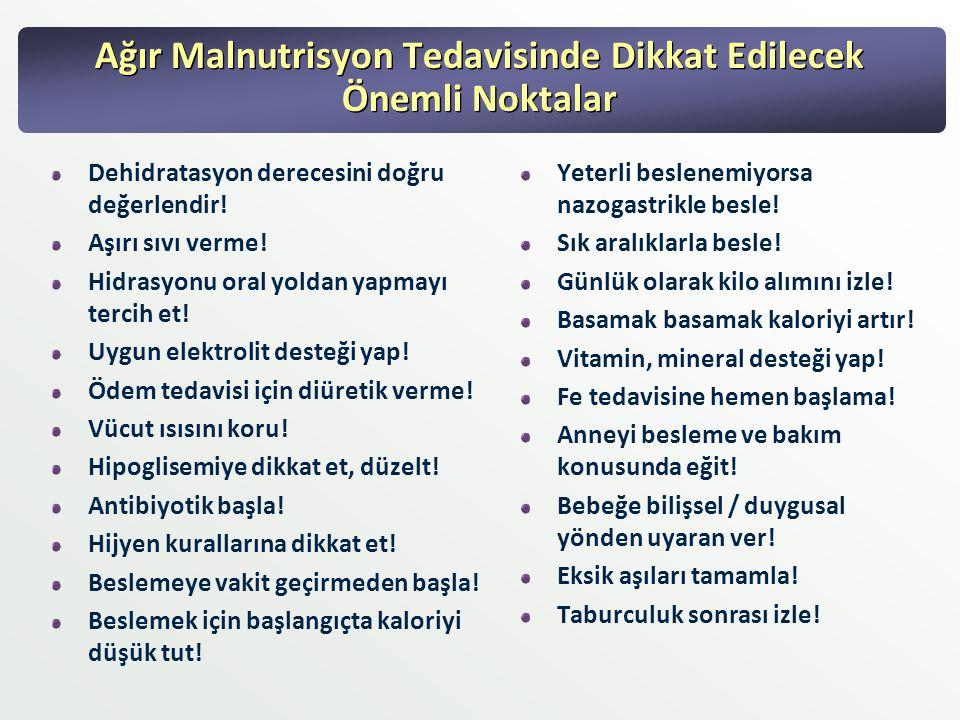 Ağır Malnutrisyon Tedavisinde Dikkat Edilecek Önemli Noktalar Dehidratasyon derecesini doğru değerlendir! Aşırı sıvı verme! Hidrasyonu oral yoldan yap