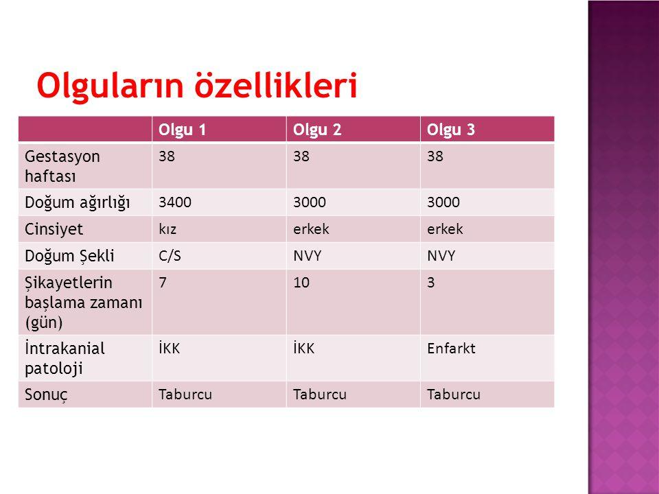 Olguların özellikleri Olgu 1Olgu 2Olgu 3 Gestasyon haftası 38 Doğum ağırlığı 34003000 Cinsiyet kızerkek Doğum Şekli C/SNVY Şikayetlerin başlama zamanı (gün) 7103 İntrakanial patoloji İKK Enfarkt Sonuç Taburcu
