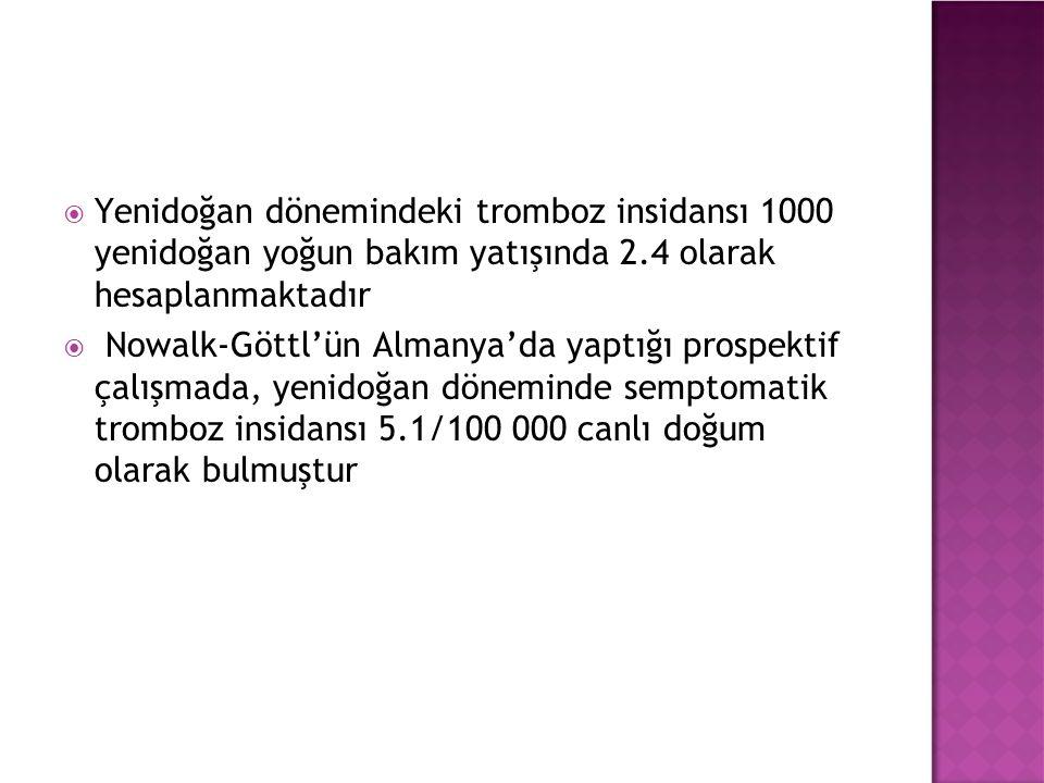  Yenidoğan dönemindeki tromboz insidansı 1000 yenidoğan yoğun bakım yatışında 2.4 olarak hesaplanmaktadır  Nowalk-Göttl'ün Almanya'da yaptığı prospektif çalışmada, yenidoğan döneminde semptomatik tromboz insidansı 5.1/100 000 canlı doğum olarak bulmuştur