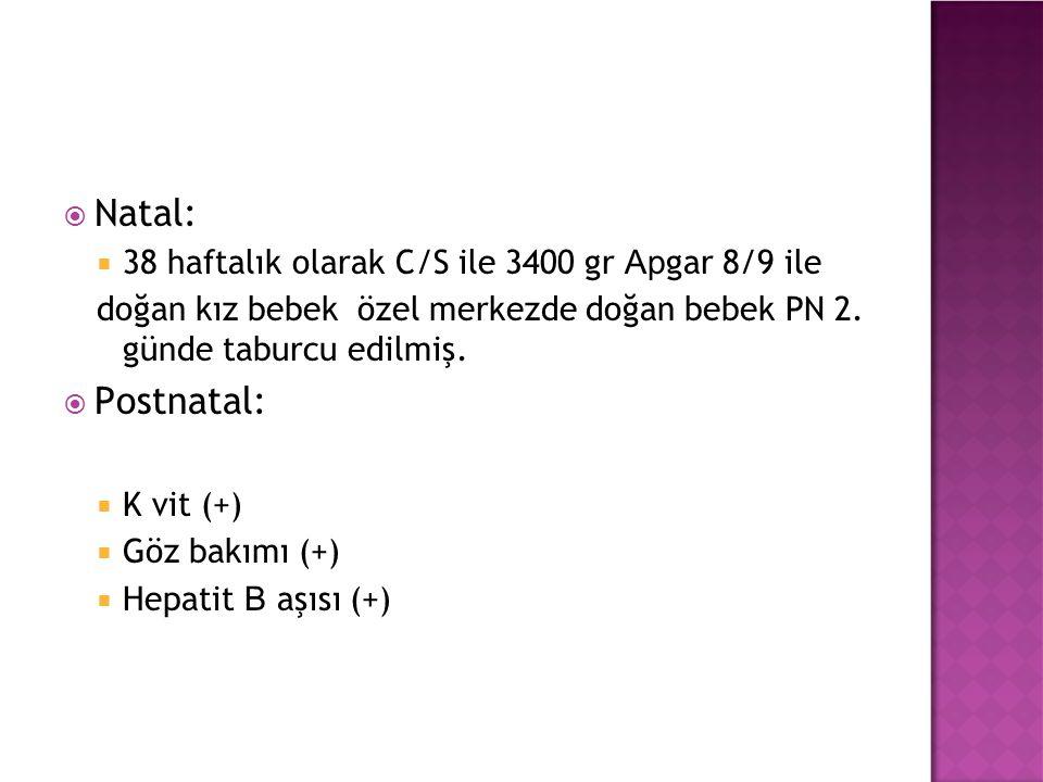  Fizik muayene:  Ateş: 36.7 C  Nabız: 157 / dk  SS: 48/ dk  SPO2: % 97  Baş çevresi: 34 cm(75P)  Boy: 50 cm (75-90P)  Kilo: 3000 gr (25-50P)