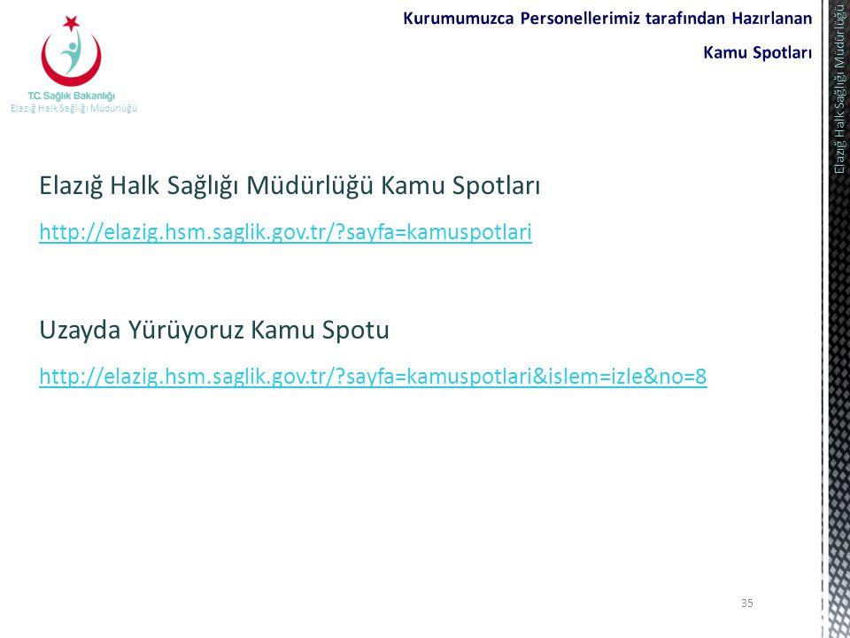 35 Elazığ Halk Sağlığı Müdürlüğü Elazığ Halk Sağlığı Müdürlüğü Kamu Spotları http://elazig.hsm.saglik.gov.tr/?sayfa=kamuspotlari Uzayda Yürüyoruz Kamu
