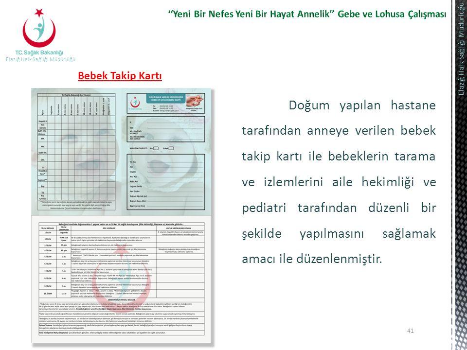 41 Elazığ Halk Sağlığı Müdürlüğü Bebek Takip Kartı Doğum yapılan hastane tarafından anneye verilen bebek takip kartı ile bebeklerin tarama ve izlemler