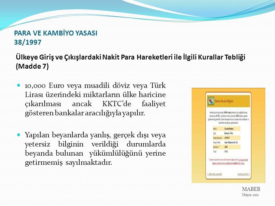 Ülkeye Giriş ve Çıkışlardaki Nakit Para Hareketleri ile İlgili Kurallar Tebliği (Madde 7) 10,000 Euro veya muadili döviz veya Türk Lirası üzerindeki m