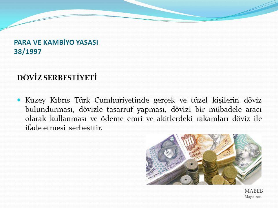 PARA VE KAMBİYO YASASI 38/1997 DÖVİZ SERBESTİYETİ Kuzey Kıbrıs Türk Cumhuriyetinde gerçek ve tüzel kişilerin döviz bulundurması, dövizle tasarruf yapm