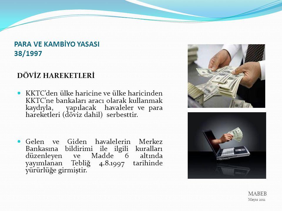 NAKİT HAREKETLERİ Banknot ve madeni paraların ülke haricine nakli ve ülkeye girişi Merkez Bankasının tespit edip Resmi Gazete'de yayımlayacağı bir tebliğle belirleyeceği limitler dahilinde serbesttir.