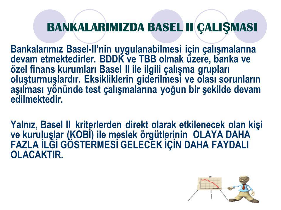 BANKALARIMIZDA BASEL II ÇALI Ş MASI Bankalarımız Basel-II'nin uygulanabilmesi için çalışmalarına devam etmektedirler. BDDK ve TBB olmak üzere, banka v