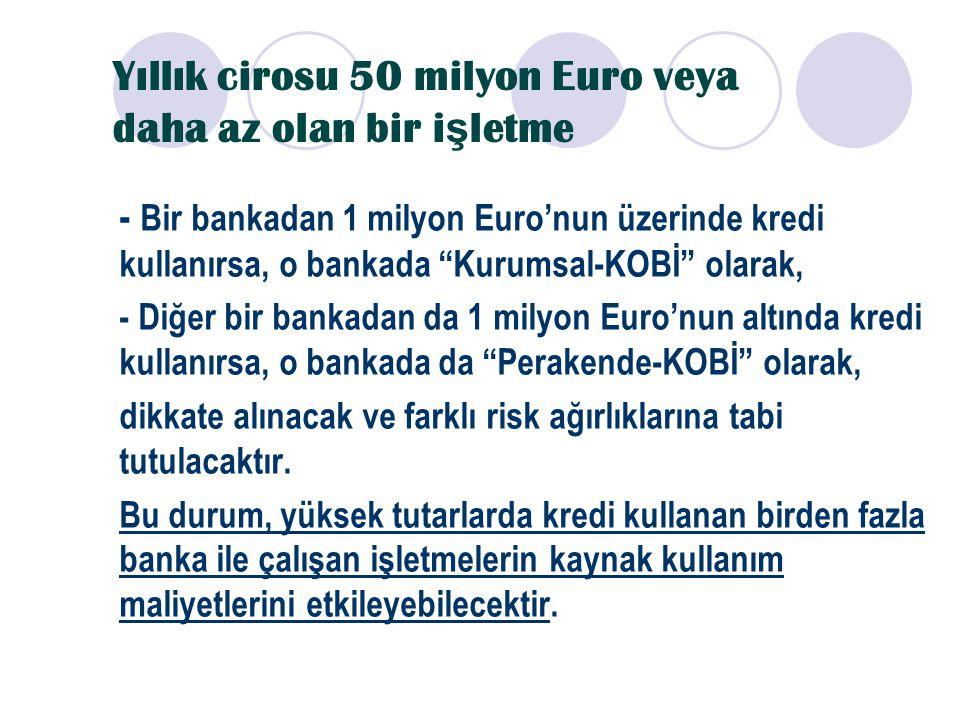 """Yıllık cirosu 50 milyon Euro veya daha az olan bir i ş letme - Bir bankadan 1 milyon Euro'nun üzerinde kredi kullanırsa, o bankada """"Kurumsal-KOBİ"""" ola"""