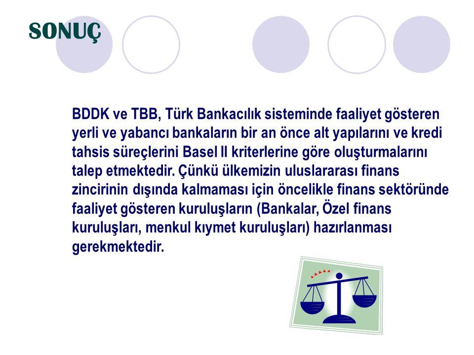 SONUÇ BDDK ve TBB, Türk Bankacılık sisteminde faaliyet gösteren yerli ve yabancı bankaların bir an önce alt yapılarını ve kredi tahsis süreçlerini Bas