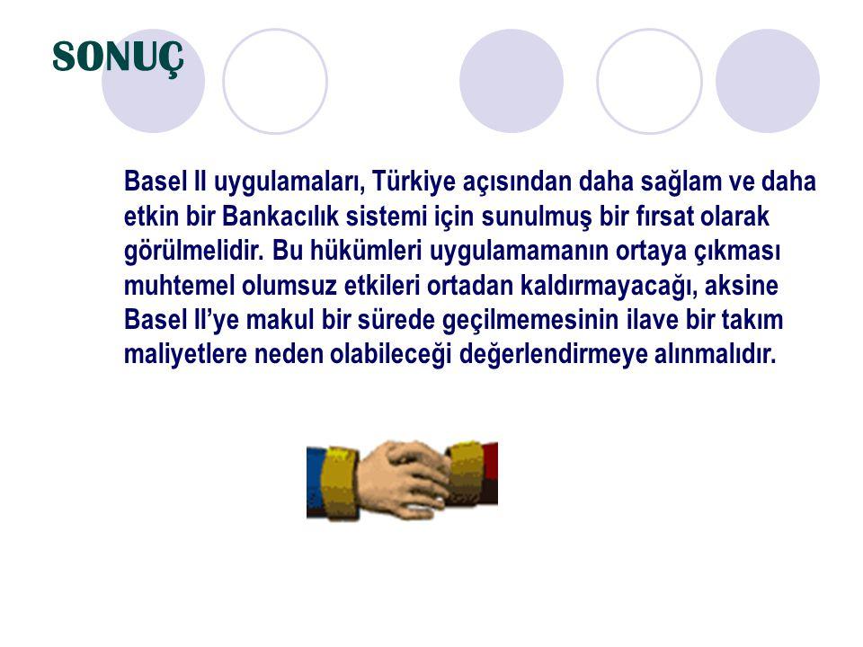 SONUÇ Basel II uygulamaları, Türkiye açısından daha sağlam ve daha etkin bir Bankacılık sistemi için sunulmuş bir fırsat olarak görülmelidir. Bu hüküm