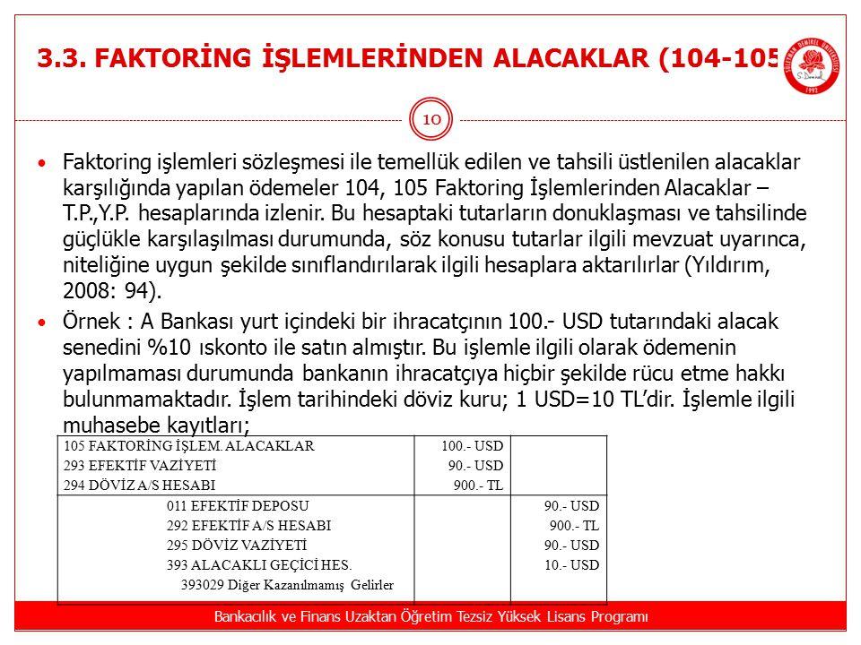 3.3. FAKTORİNG İŞLEMLERİNDEN ALACAKLAR (104-105 ) Bankacılık ve Finans Uzaktan Öğretim Tezsiz Yüksek Lisans Programı 10 Faktoring işlemleri sözleşmesi