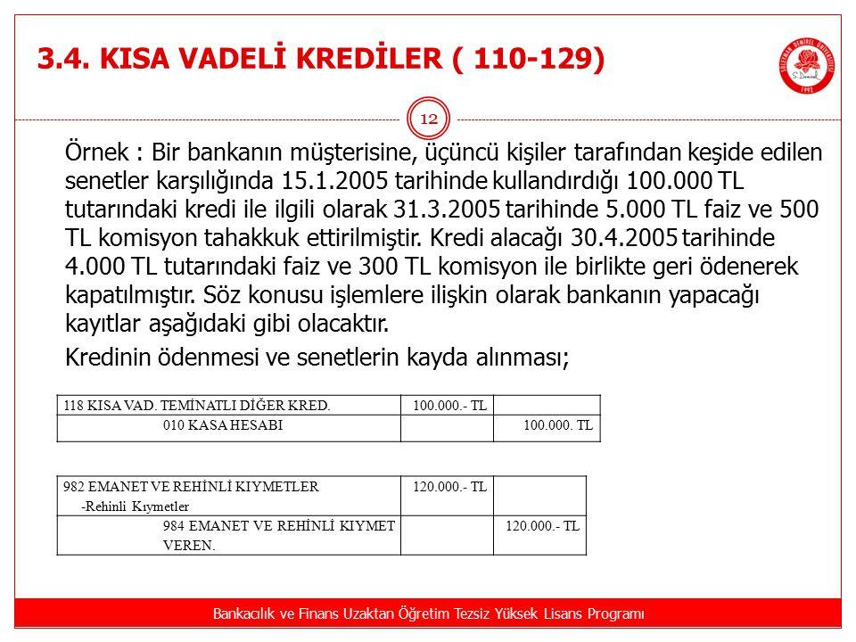 3.4. KISA VADELİ KREDİLER ( 110-129) Bankacılık ve Finans Uzaktan Öğretim Tezsiz Yüksek Lisans Programı 12 Örnek : Bir bankanın müşterisine, üçüncü ki