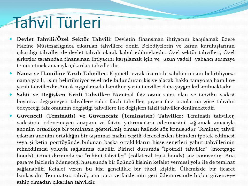 Tahvil Türleri Devlet Tahvili/Özel Sektör Tahvili: Devletin finansman ihtiyacını karşılamak üzere Hazine Müsteşarlığınca çıkarılan tahvillere denir. B