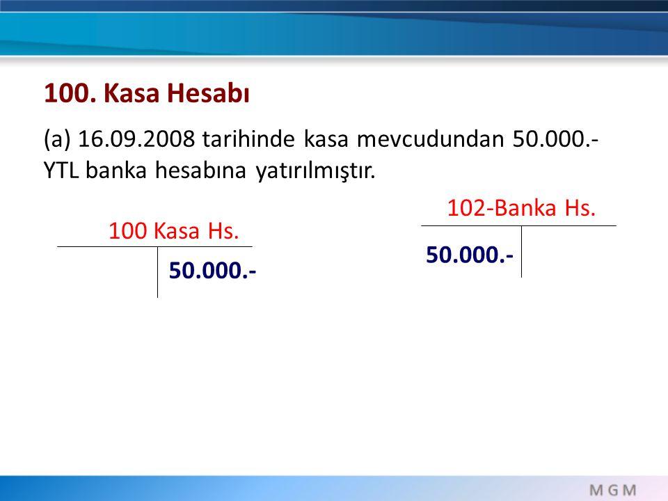 100 Kasa Hs. 50.000.- 100. Kasa Hesabı (a) 16.09.2008 tarihinde kasa mevcudundan 50.000.- YTL banka hesabına yatırılmıştır. 102-Banka Hs. 50.000.-