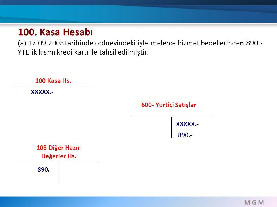 100 Kasa Hs. XXXXX.- 100. Kasa Hesabı (a) 17.09.2008 tarihinde orduevindeki işletmelerce hizmet bedellerinden 890.- YTL'lik kısmı kredi kartı ile tahs