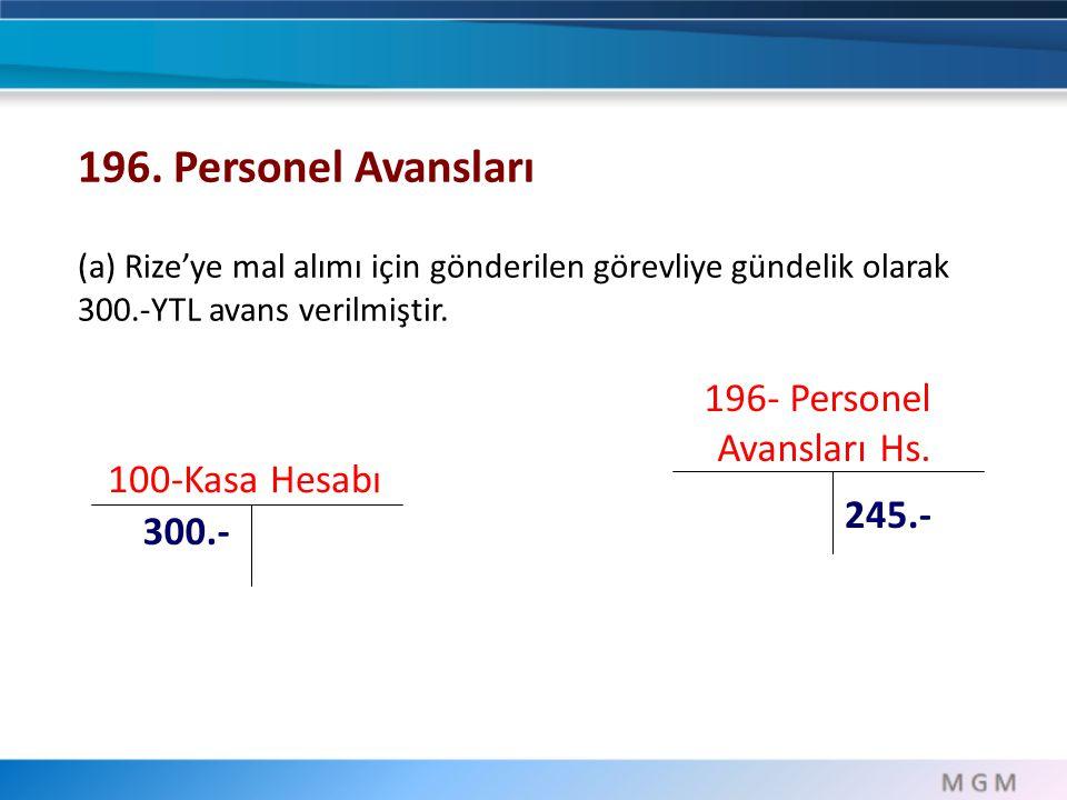 100-Kasa Hesabı 300.- 196. Personel Avansları (a) Rize'ye mal alımı için gönderilen görevliye gündelik olarak 300.-YTL avans verilmiştir. 196- Persone