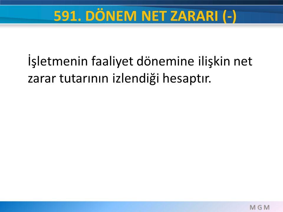 591. DÖNEM NET ZARARI (-) İşletmenin faaliyet dönemine ilişkin net zarar tutarının izlendiği hesaptır.