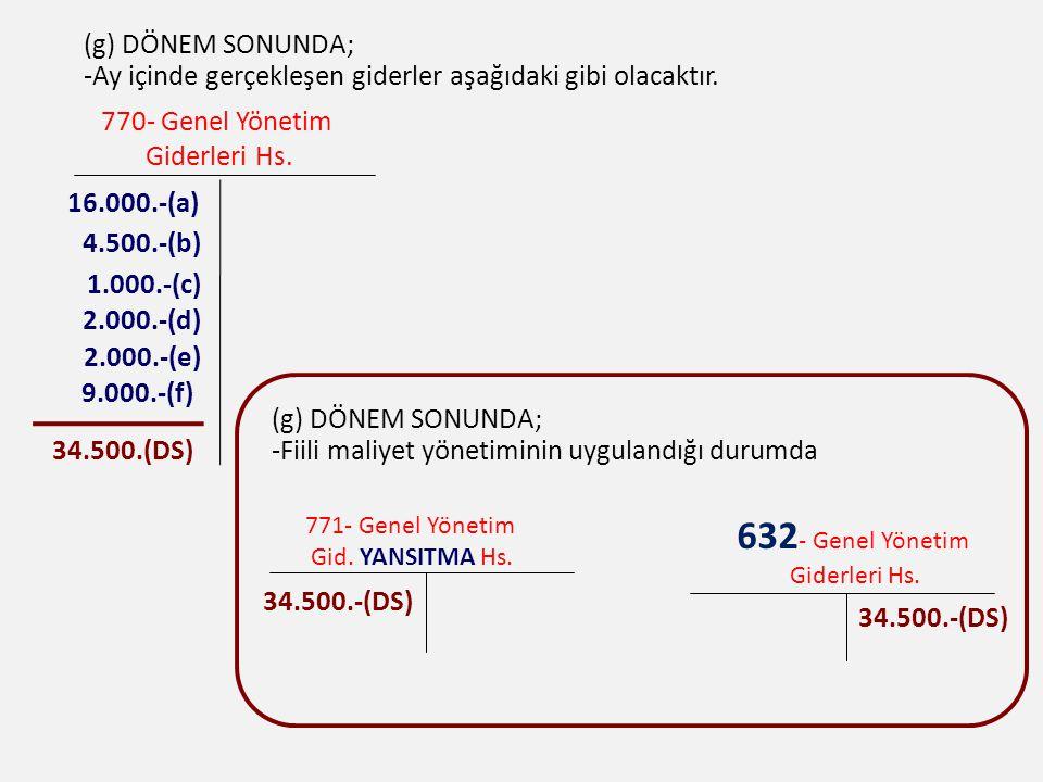(g) DÖNEM SONUNDA; -Ay içinde gerçekleşen giderler aşağıdaki gibi olacaktır. 770- Genel Yönetim Giderleri Hs. 16.000.-(a) 4.500.-(b) 1.000.-(c) 9.000.