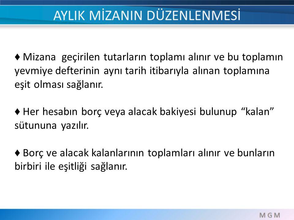 ♦ Mizana geçirilen tutarların toplamı alınır ve bu toplamın yevmiye defterinin aynı tarih itibarıyla alınan toplamına eşit olması sağlanır. ♦ Her hesa