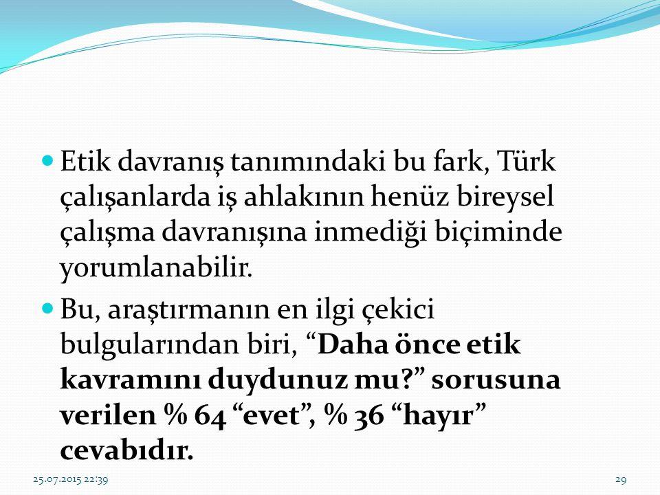Etik davranış tanımındaki bu fark, Türk çalışanlarda iş ahlakının henüz bireysel çalışma davranışına inmediği biçiminde yorumlanabilir. Bu, araştırman