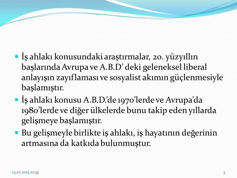 İş Ahlakı ve İslam Ahi Teşkilatı ise Fütüvvet Teşkilatının Anadolu da yayılmış bulunan bir şeklidir ve tekkelerin birer meslek kuruluşu haline gelmesini sağlamıştır.