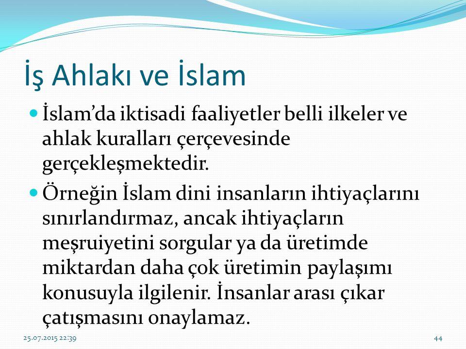 İş Ahlakı ve İslam İslam'da iktisadi faaliyetler belli ilkeler ve ahlak kuralları çerçevesinde gerçekleşmektedir. Örneğin İslam dini insanların ihtiya