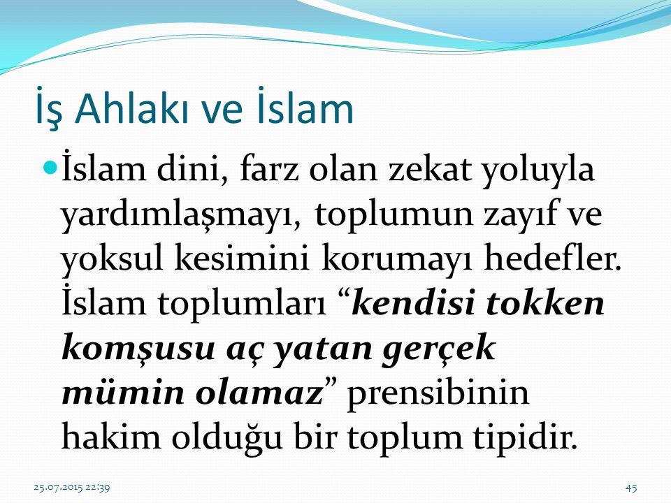"""İş Ahlakı ve İslam İslam dini, farz olan zekat yoluyla yardımlaşmayı, toplumun zayıf ve yoksul kesimini korumayı hedefler. İslam toplumları """"kendisi t"""