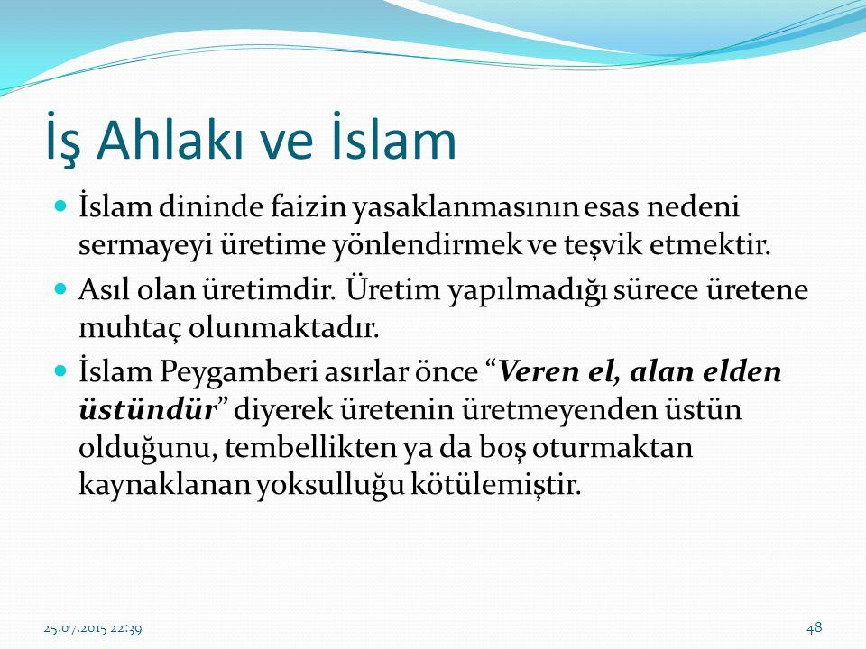İş Ahlakı ve İslam İslam dininde faizin yasaklanmasının esas nedeni sermayeyi üretime yönlendirmek ve teşvik etmektir. Asıl olan üretimdir. Üretim yap