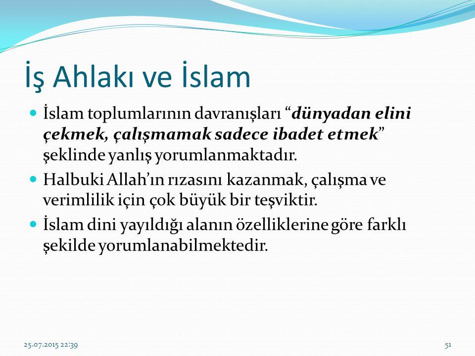 İş Ahlakı ve İslam İslam toplumlarının davranışları dünyadan elini çekmek, çalışmamak sadece ibadet etmek şeklinde yanlış yorumlanmaktadır.