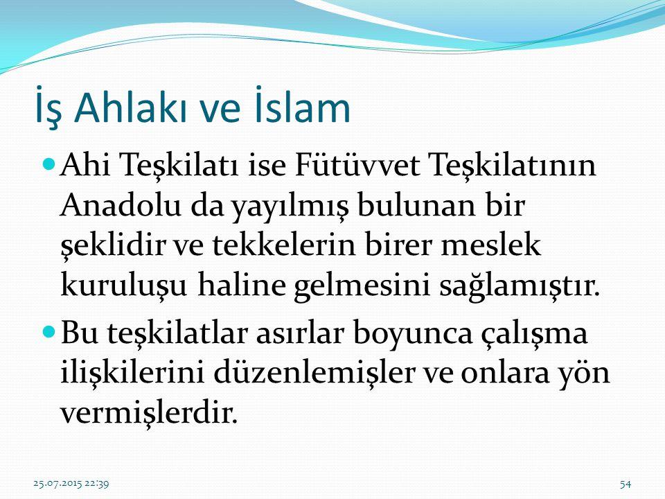 İş Ahlakı ve İslam Ahi Teşkilatı ise Fütüvvet Teşkilatının Anadolu da yayılmış bulunan bir şeklidir ve tekkelerin birer meslek kuruluşu haline gelmesi