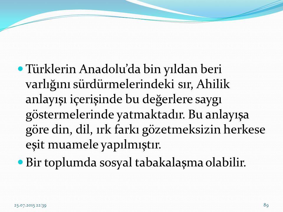 Türklerin Anadolu'da bin yıldan beri varlığını sürdürmelerindeki sır, Ahilik anlayışı içerişinde bu değerlere saygı göstermelerinde yatmaktadır. Bu an