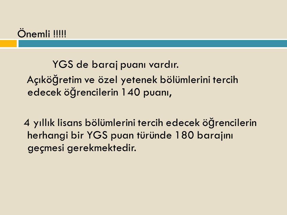 Önemli !!!!. YGS de baraj puanı vardır.