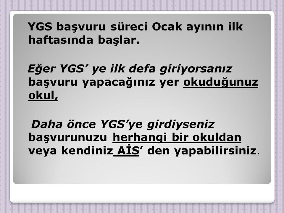 YGS başvuru süreci Ocak ayının ilk haftasında başlar.