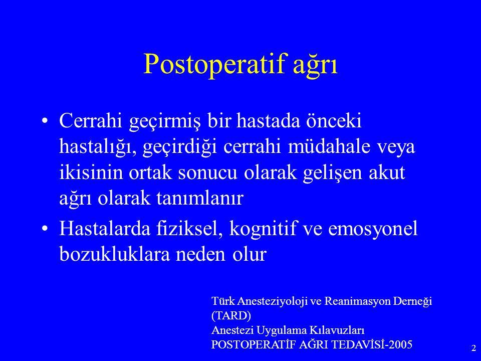 Postoperatif ağrı Cerrahi geçirmiş bir hastada önceki hastalığı, geçirdiği cerrahi müdahale veya ikisinin ortak sonucu olarak gelişen akut ağrı olarak