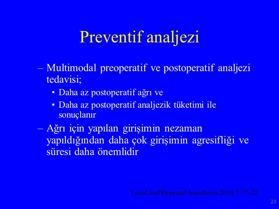 Preventif analjezi –Multimodal preoperatif ve postoperatif analjezi tedavisi; Daha az postoperatif ağrı ve Daha az postoperatif analjezik tüketimi ile