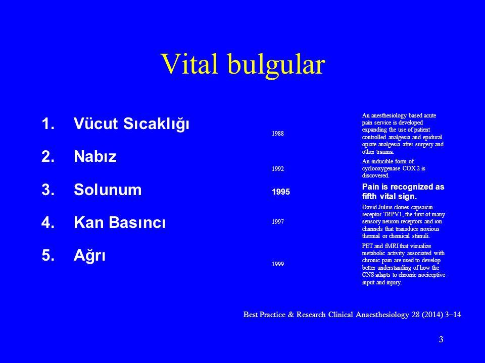 Vital bulgular 1.Vücut Sıcaklığı 2.Nabız 3.Solunum 4.Kan Basıncı 5.Ağrı 1988 An anesthesiology based acute pain service is developed expanding the use