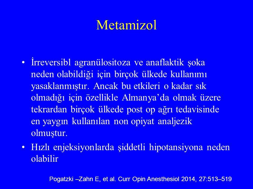 Metamizol İrreversibl agranülositoza ve anaflaktik şoka neden olabildiği için birçok ülkede kullanımı yasaklanmıştır. Ancak bu etkileri o kadar sık ol