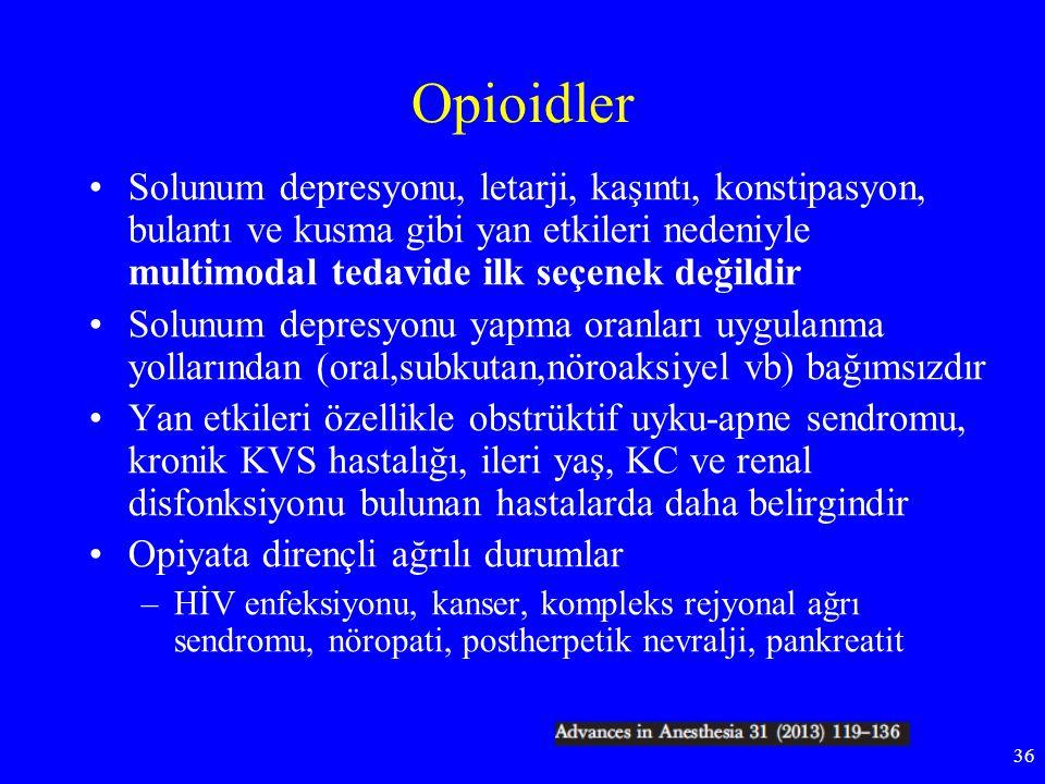 Opioidler Solunum depresyonu, letarji, kaşıntı, konstipasyon, bulantı ve kusma gibi yan etkileri nedeniyle multimodal tedavide ilk seçenek değildir So