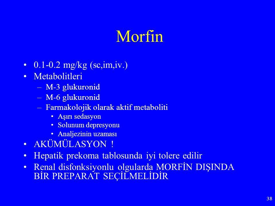 Morfin 0.1-0.2 mg/kg (sc,im,iv.) Metabolitleri –M-3 glukuronid –M-6 glukuronid –Farmakolojik olarak aktif metaboliti Aşırı sedasyon Solunum depresyonu