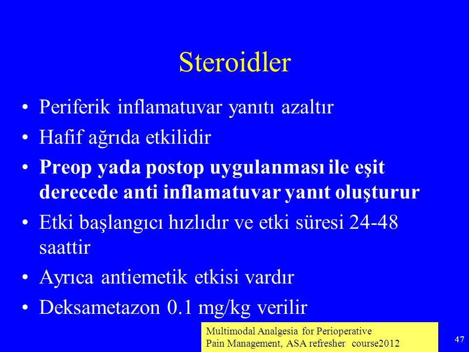 Steroidler Periferik inflamatuvar yanıtı azaltır Hafif ağrıda etkilidir Preop yada postop uygulanması ile eşit derecede anti inflamatuvar yanıt oluştu