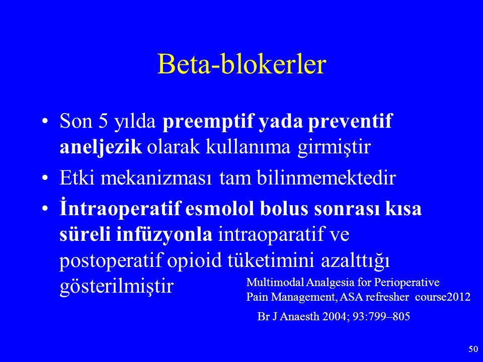 Beta-blokerler Son 5 yılda preemptif yada preventif aneljezik olarak kullanıma girmiştir Etki mekanizması tam bilinmemektedir İntraoperatif esmolol bo