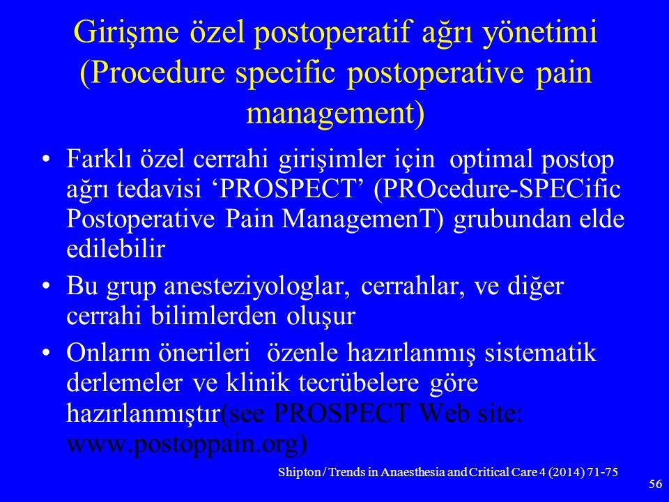 Girişme özel postoperatif ağrı yönetimi (Procedure specific postoperative pain management) Farklı özel cerrahi girişimler için optimal postop ağrı ted