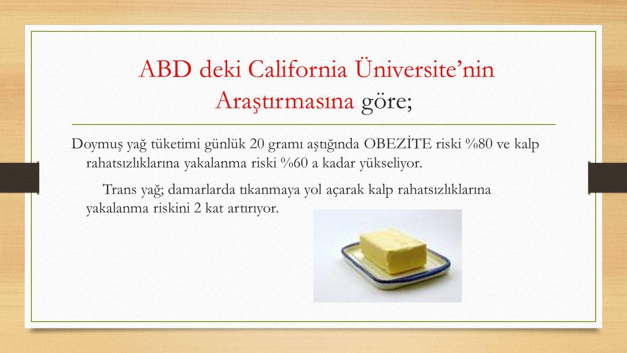 ABD deki California Üniversite'nin Araştırmasına göre; Doymuş yağ tüketimi günlük 20 gramı aştığında OBEZİTE riski %80 ve kalp rahatsızlıklarına yakal