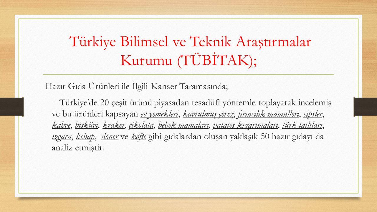 Türkiye Bilimsel ve Teknik Araştırmalar Kurumu (TÜBİTAK); Hazır Gıda Ürünleri ile İlgili Kanser Taramasında; Türkiye'de 20 çeşit ürünü piyasadan tesad