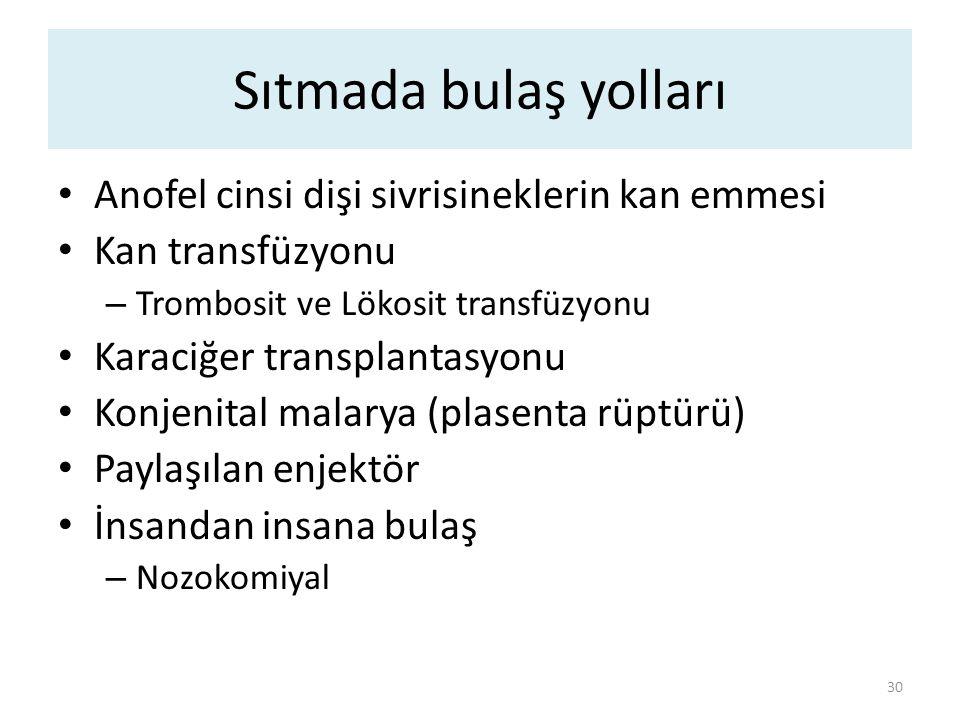 Sıtmada bulaş yolları 30 Anofel cinsi dişi sivrisineklerin kan emmesi Kan transfüzyonu – Trombosit ve Lökosit transfüzyonu Karaciğer transplantasyonu