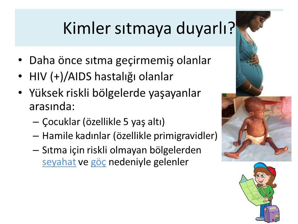 Kimler sıtmaya duyarlı? Daha önce sıtma geçirmemiş olanlar HIV (+)/AIDS hastalığı olanlar Yüksek riskli bölgelerde yaşayanlar arasında: – Çocuklar (öz