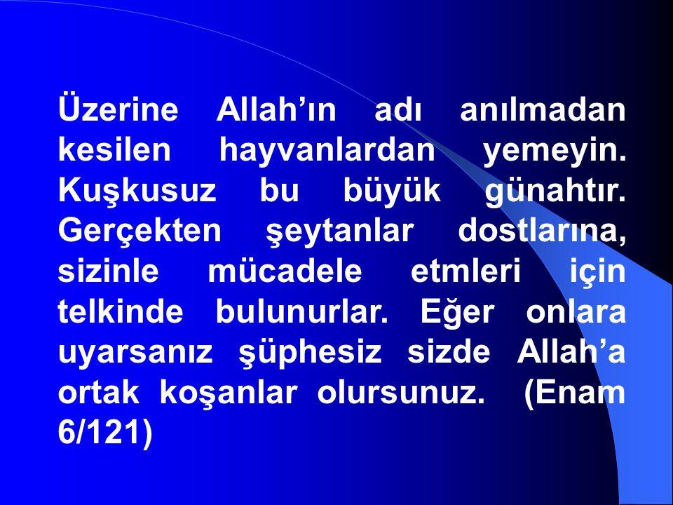 Üzerine Allah'ın adı anılmadan kesilen hayvanlardan yemeyin. Kuşkusuz bu büyük günahtır. Gerçekten şeytanlar dostlarına, sizinle mücadele etmleri için
